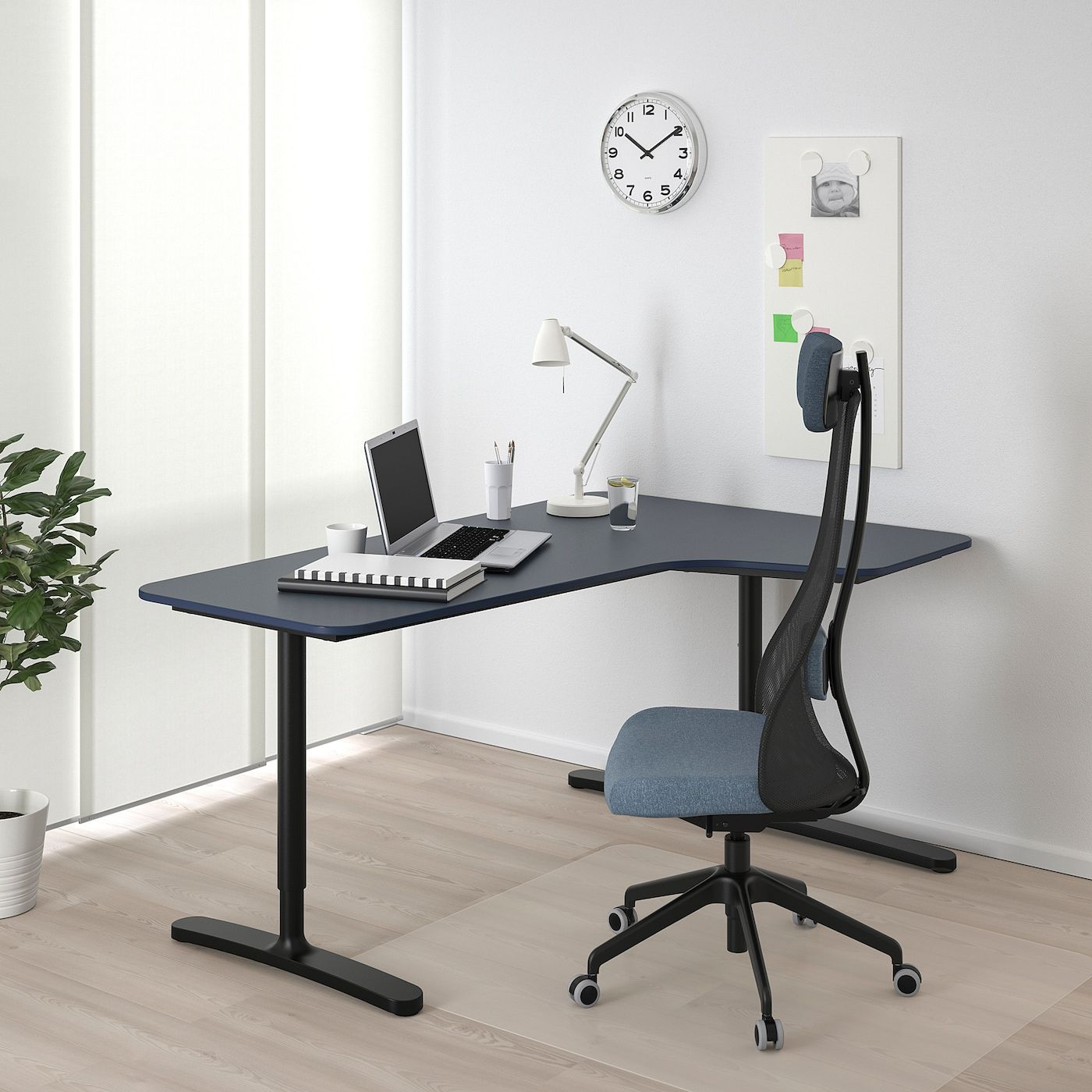 Ikea Bekant Linoleum Blue Black Corner Desk Right In 2020 Ikea Bekant White Desks Black Desk