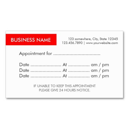 Red Label Appointment Reminder Business Cards Appointment Business