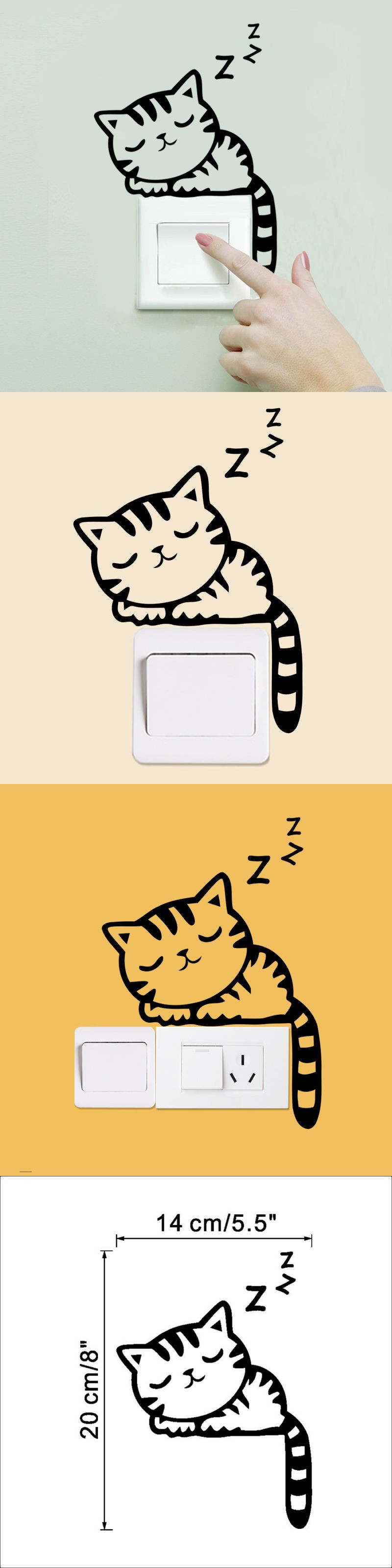 DIY Funny Cute Cat Switch Stickers Wall Stickers Home Decoration ...