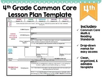 lesson plan template using common core standards - 4th grade common core lesson plan template lesson plan