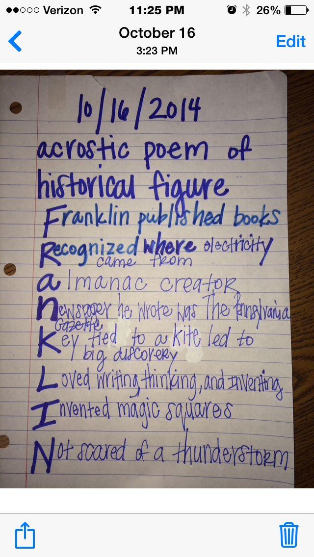 Benjamin Franklin Acrostic Poem Teacher Rough Draft Example