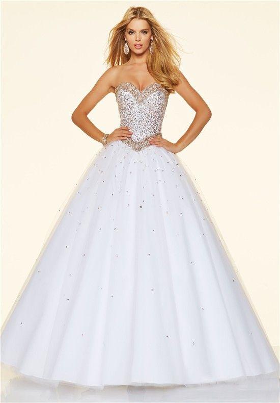 Strapless White Ball Gown