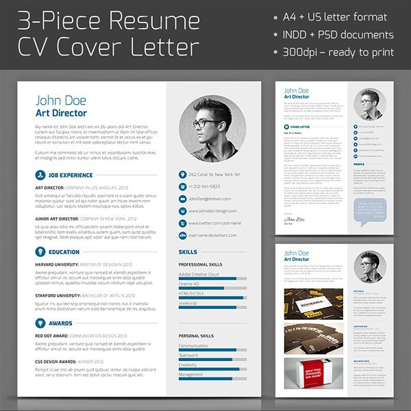trendy cv Professional 3 piece Resume template with clean and trendy layout