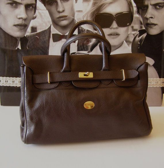 Kelly Style Leather Handbag Bag Mac Douglas Pyla Brown Leather Leather Vintage 80 S Bag Laptop Tablet Leather Handbags Bags Handbag