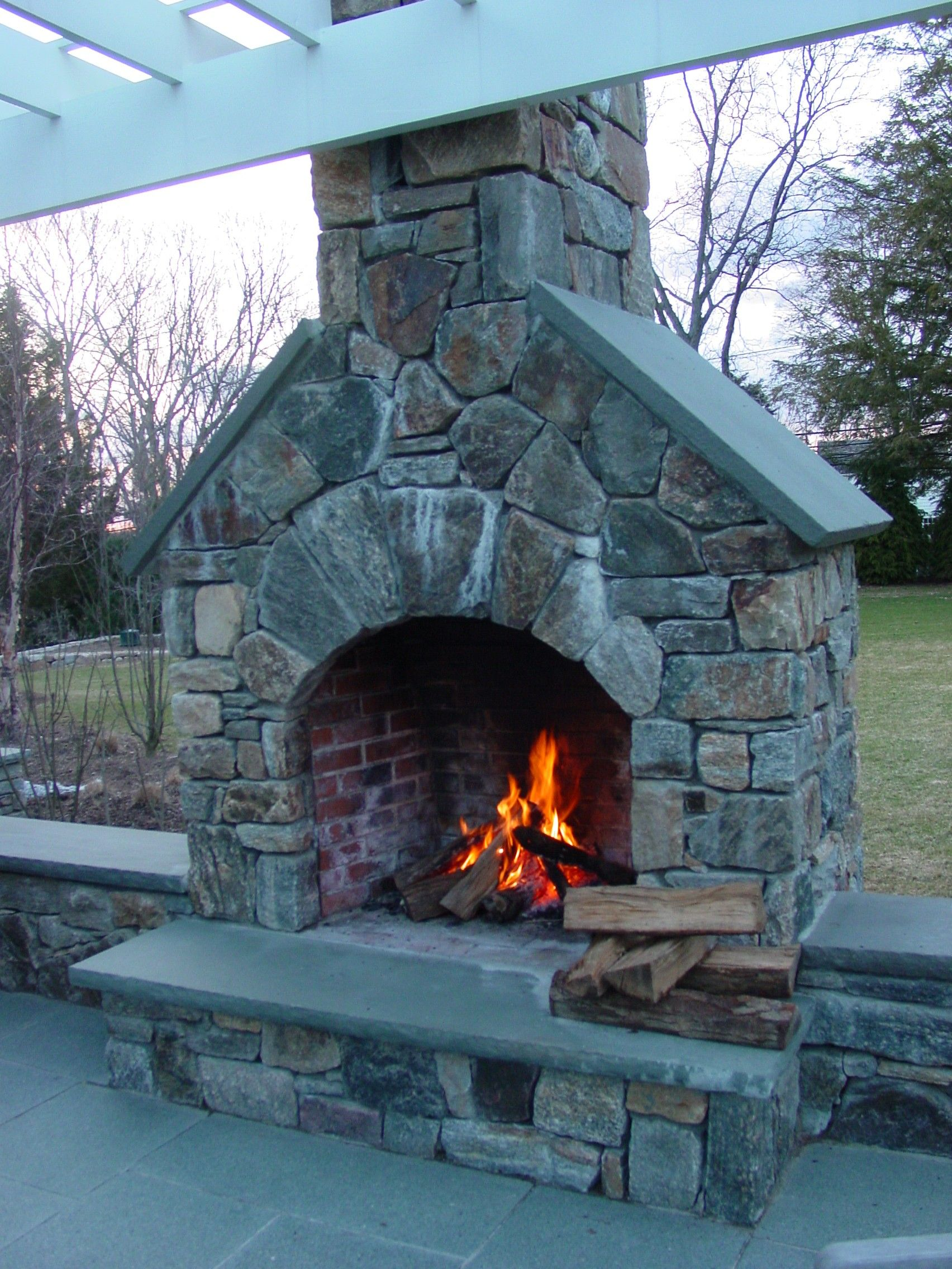 Outdoor Fireplace built by Freddy's Landscape Company