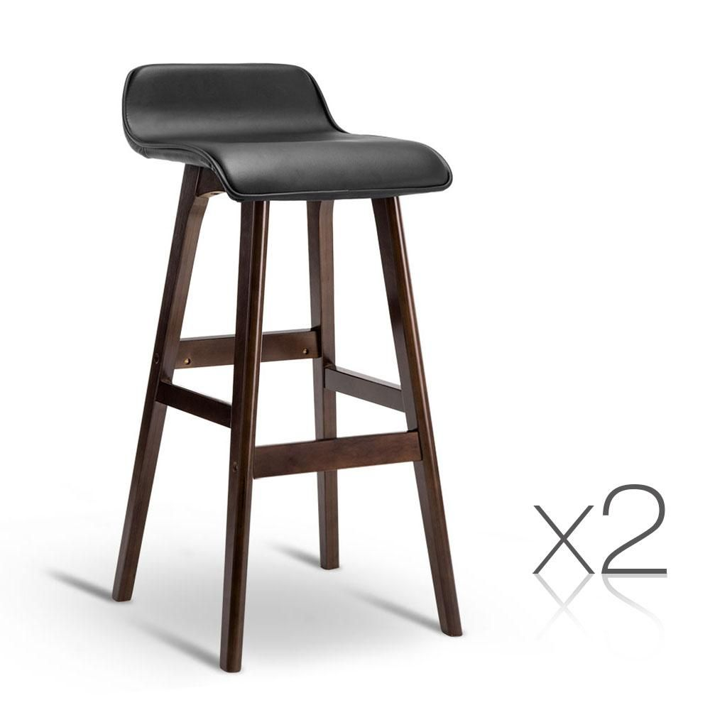 competitive price a8d49 65b19 Artiss Set of 2 PU Leather and Wood Bar Stool - Black | Bar ...