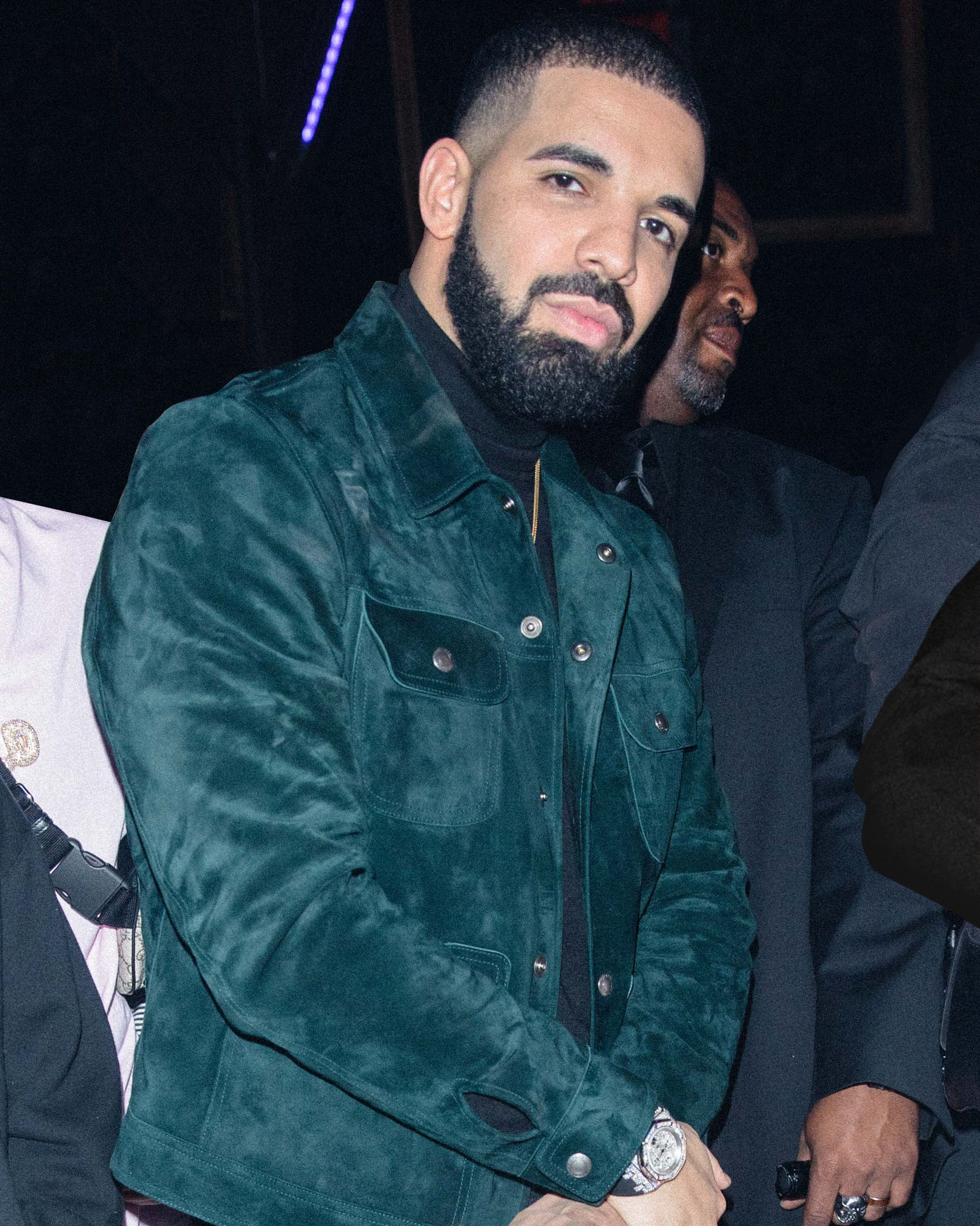 4f177ae5f1 Drake in the TOM FORD dark green Cashmere Suede Western Jacket at his 31st  birthday celebration in Los Angeles.  TOMFORD