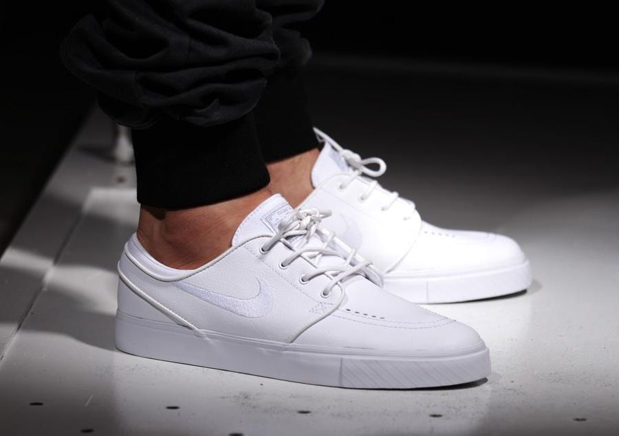 "best cheap 411b3 054fc ... September 2014 is suddenly making a ""comeback"" of sort as some  retailers are getting a new supply of Nike SB Zoom Stefan Janoski Leather  ""All White""."
