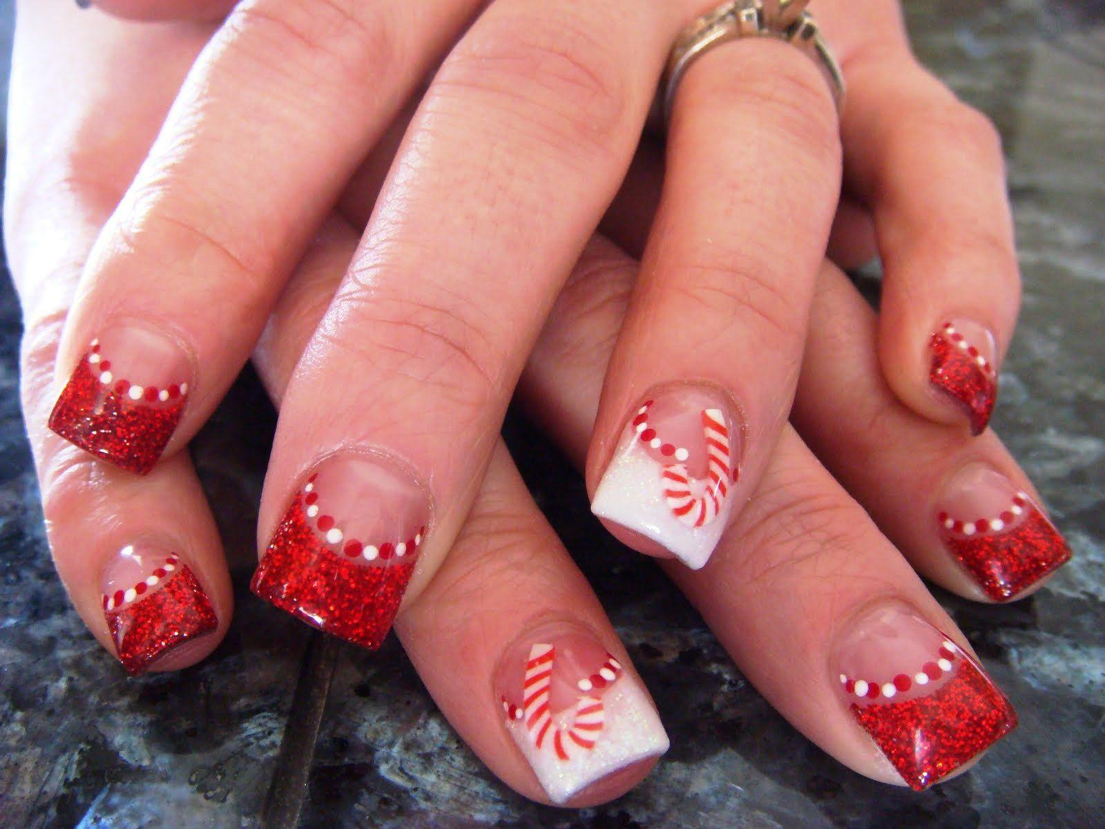 Acrylic Nail Tips Candy Cane Http Nailarting Com Acrylic Nail Tips Candy Cane Cute Christmas Nails Red Acrylic Nails Candy Cane Nails