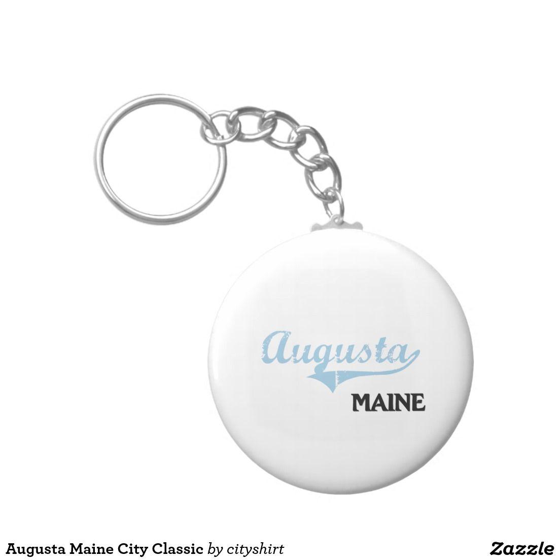 Augusta Maine City Classic Basic Round Button Keychain