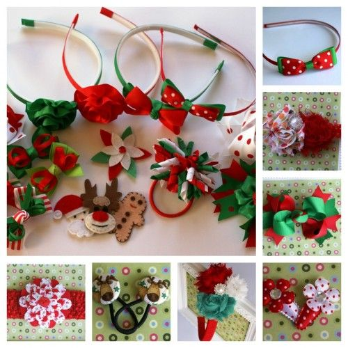 Christmas Hair Bow Clip Xmas Hair Accessory【Genuinely Hand Made in the UK】