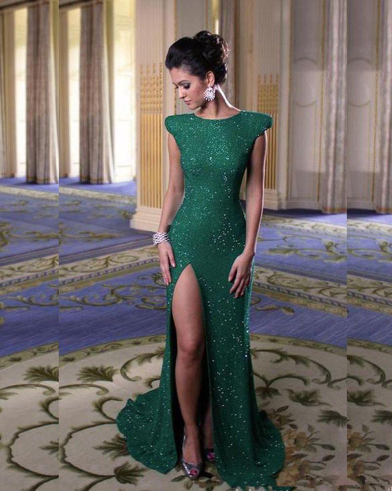 elegant jewel neck short sleeves split sequined floor length