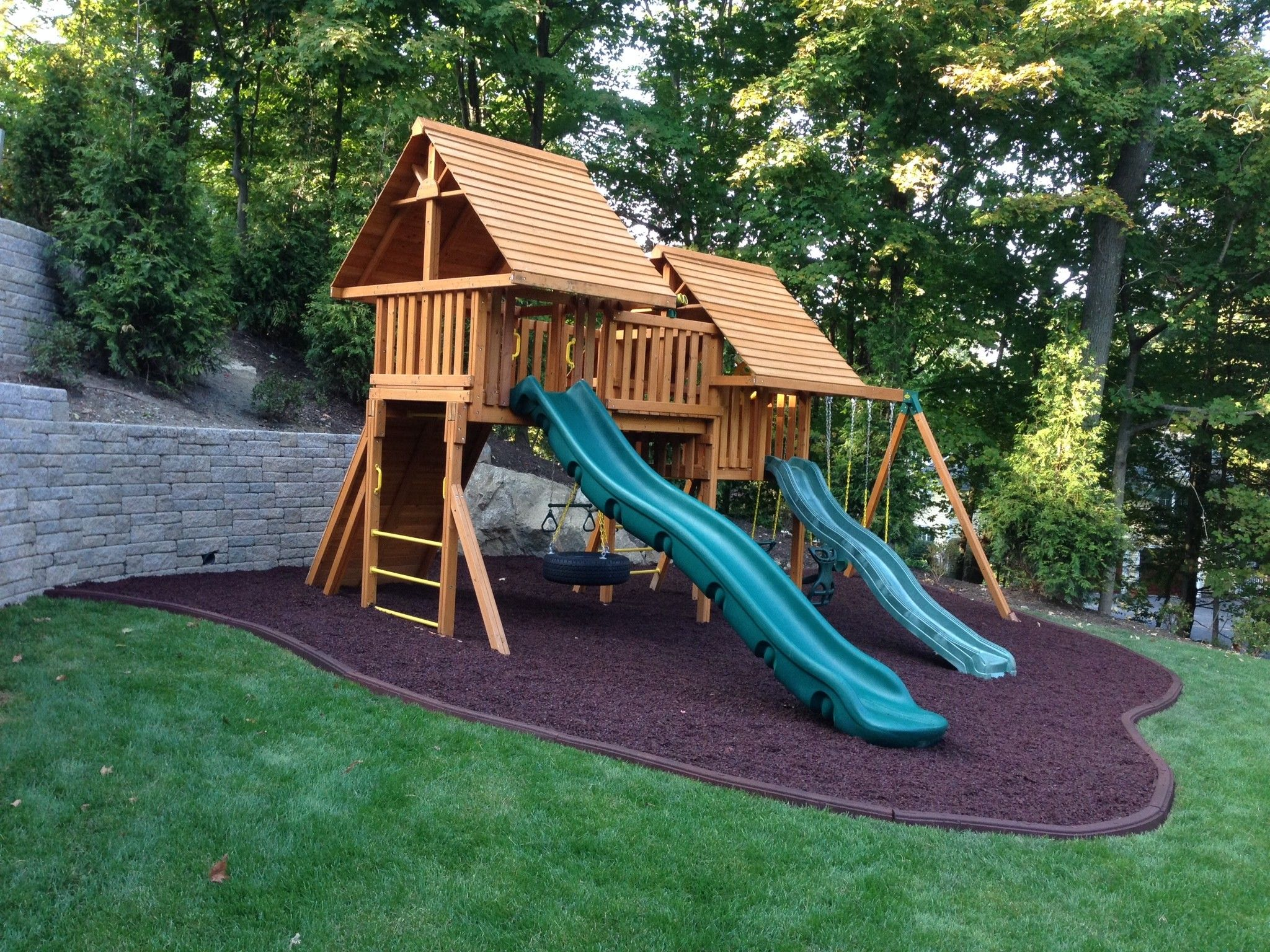 Fantasy Swing Set With Wood Roofs 14 Scoop Slide And Rubber Mulch