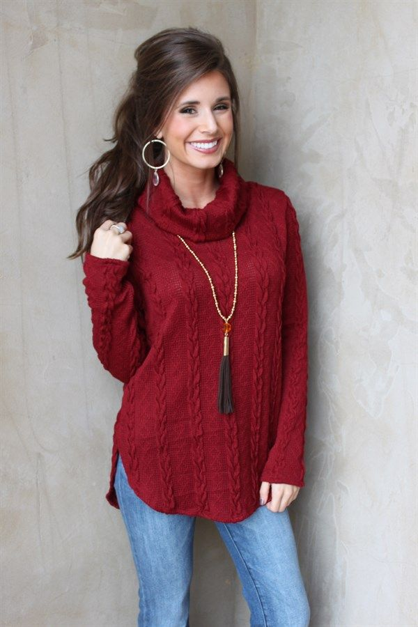 Perfect for Christmas! Cozy up in our burgundy cowl neck sweater! Pair with jeans or leggings, boots and jewelry for a cute look!Sizing: small 0-4, medium 6-8, large 10-12