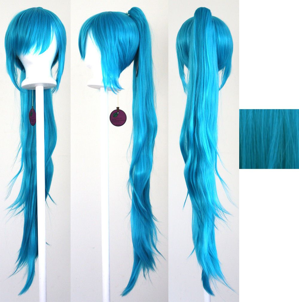 40/'/' Wavy Pony Tail Clip Peacock Blue Cosplay Wig Clip Only NEW