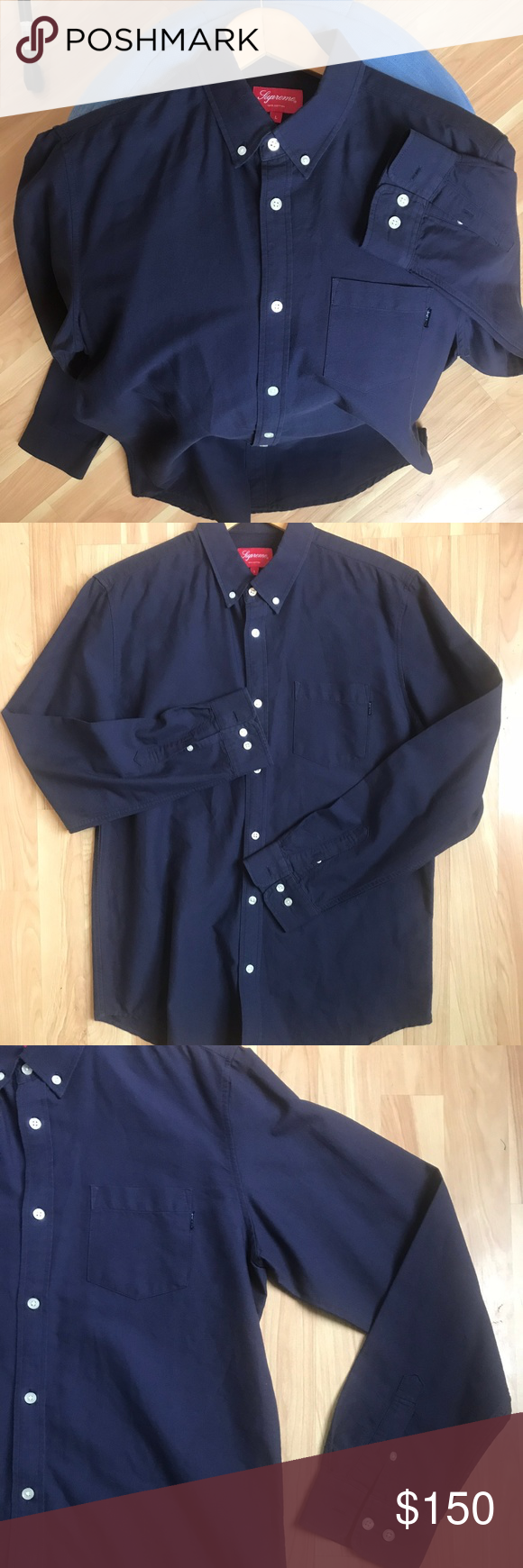 cc1834d256aef5 NWOT Supreme Oxford Button Down In Navy Blue NWOT Supreme button down in  Navy with white buttons. Authentic button up from world famous Supreme  brand based ...