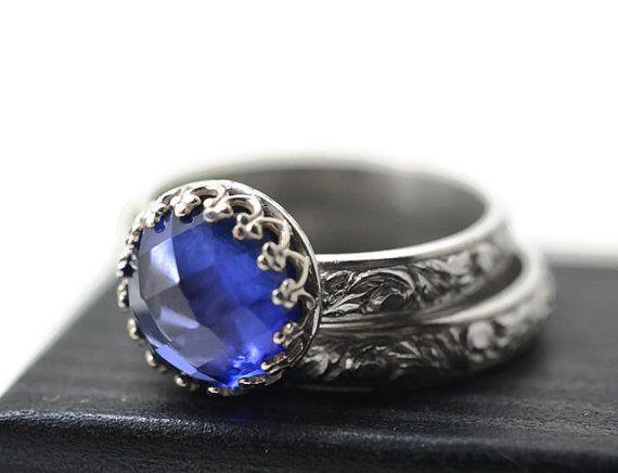 Blue Sapphire Wedding Set Renaissance Wedding Band Sapphire