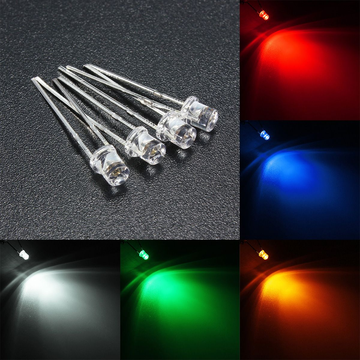 Verlichting 2 5 10pcs 3mm 5 Color Water Clear Led Flat Diodes Assortment Lamp Diy