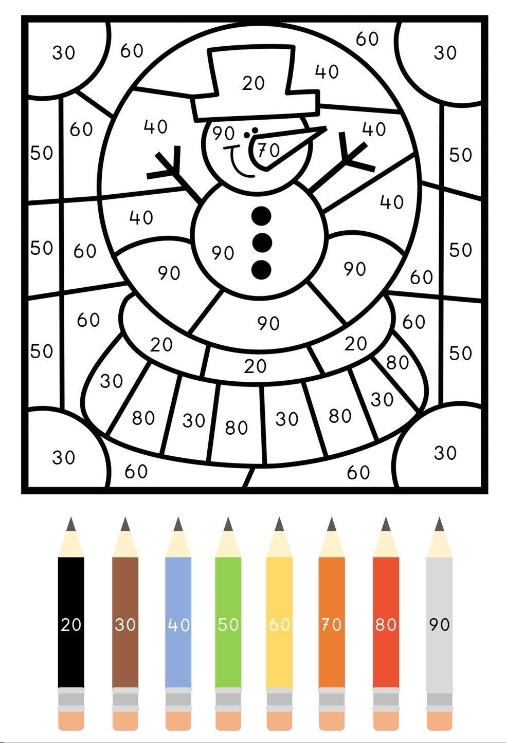 Kleur Op Code Kerst Winter Cijfers In 2021 2de Leerjaar Wiskunde Wiskunde Spelletjes Werkbladen