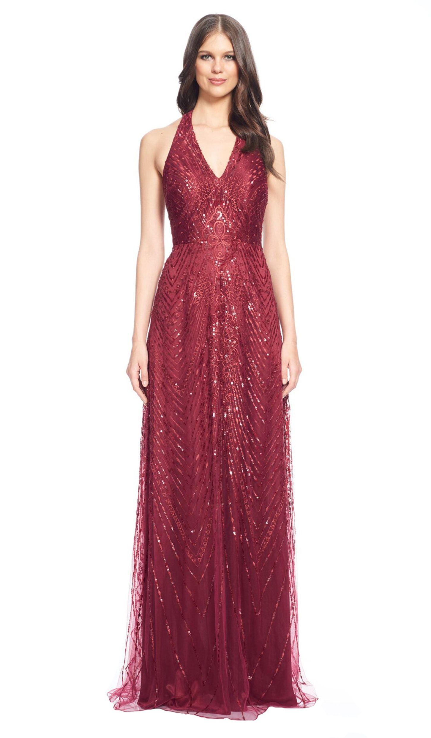 Red Embellished Halter Neck Gown - Aluguer de vestidos David Meister - Frente