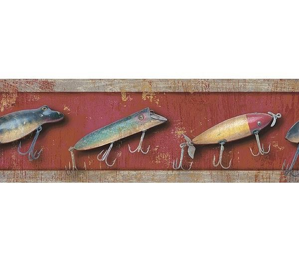 Interior Place Red Fishing Lure Wallpaper Border, 21.60