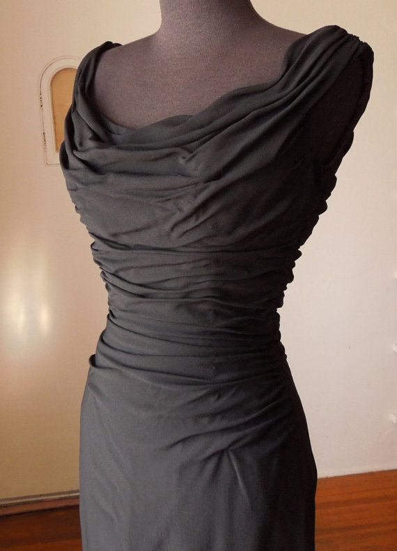 Vintage 50's Wiggle Dress, Cocktail Dress, Black, Ruched, Sexy, Bombshell, VLV, Rockabilly, LBD, Women's Small
