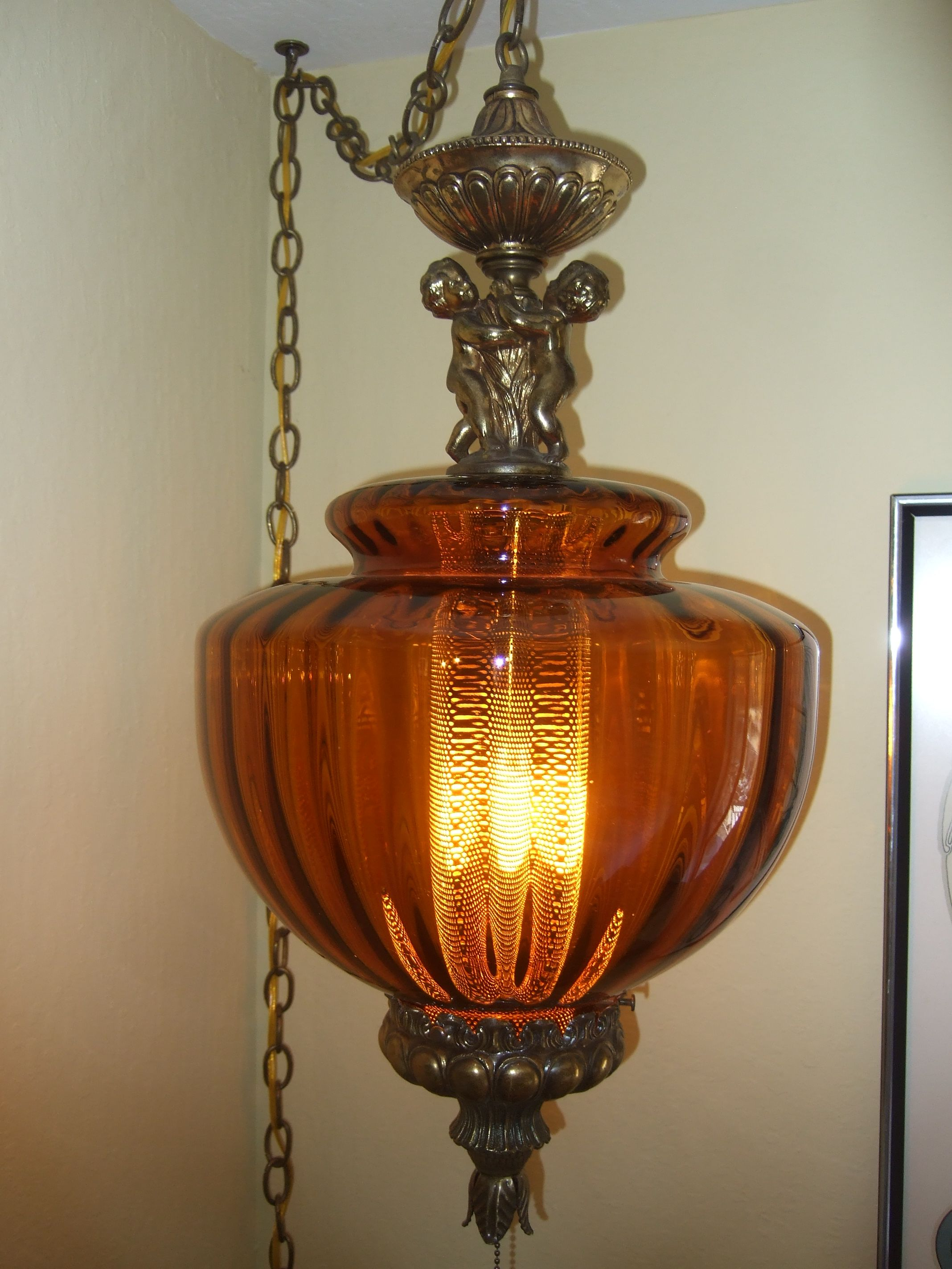 Cherub Amber Swag Lamp That I Designed And Made From Diffe Parts