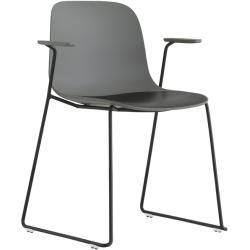 Photo of Lapalma Seela S314 chair with armrest white lacquered gray / imitation leather Grimm (desired color in the remark