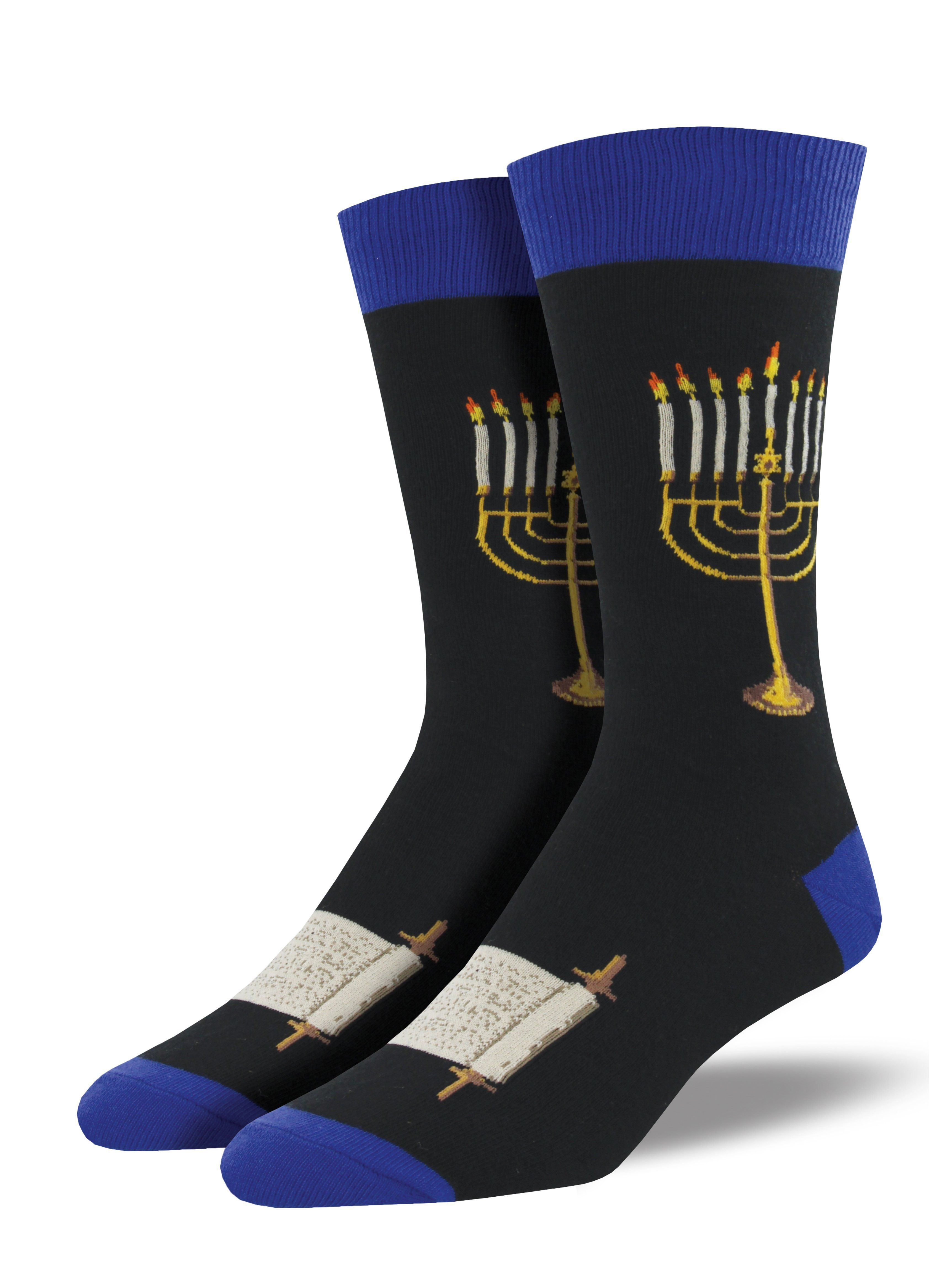 Men's Menorah Socks Socks, Holiday socks, Hanukkah menorah