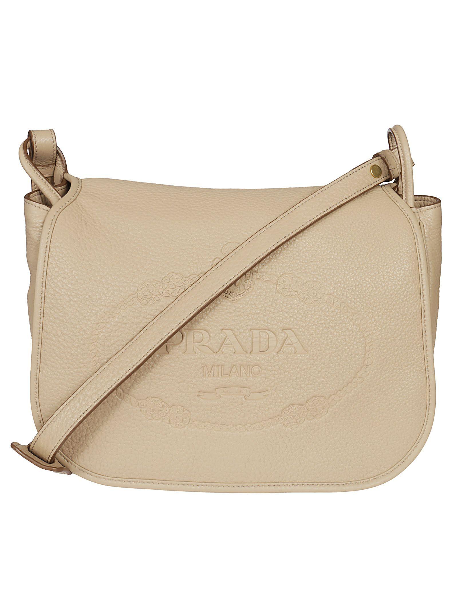 2e913997dd PRADA LOGO EMBOSSED SHOULDER BAG.  prada  bags  shoulder bags  leather