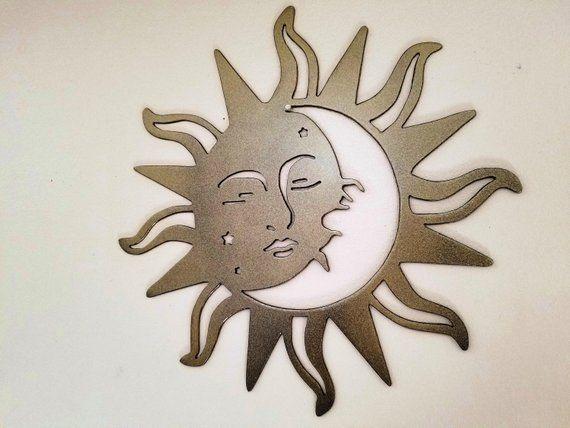 Sun And Moon Metal Wall Art Etsy Metal Sun Wall Art Metal Art