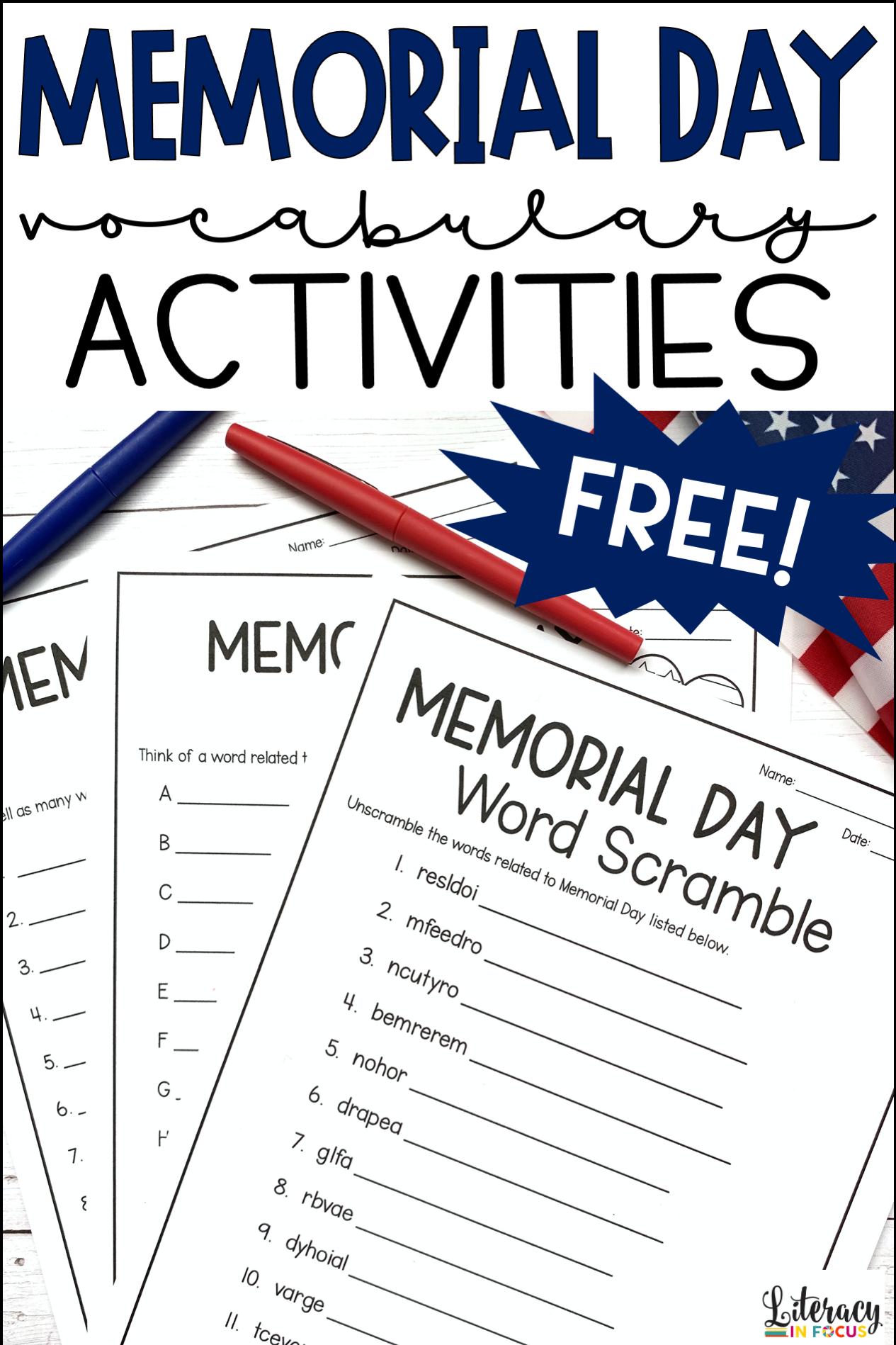 Free Memorial Day Vocabulary Activities Memorial Day Activities Vocabulary Activities Word Games [ 1898 x 1265 Pixel ]