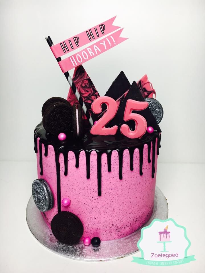 Amazing 25 Birthday Pink Drip Cake 25Th Birthday Cakes Drip Cakes Cake Funny Birthday Cards Online Alyptdamsfinfo