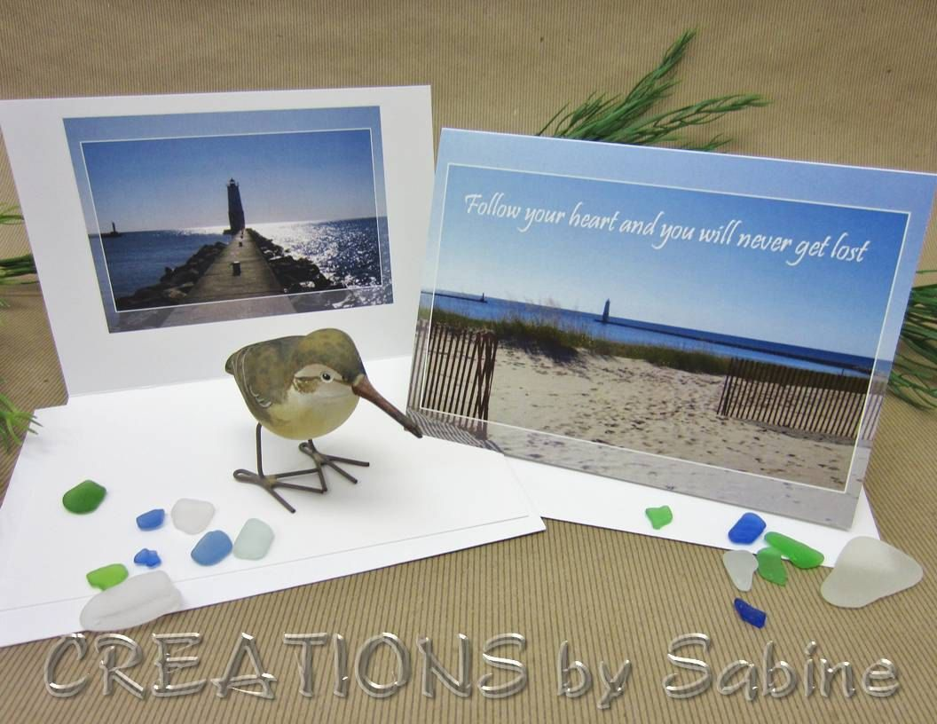 Photograph greeting card lighthouse beach inspiration follow items similar to inspirational photo greeting card lighthouse pier in frankfort mi on lake michigan great lakes beach quote inspiration ready to ship kristyandbryce Choice Image