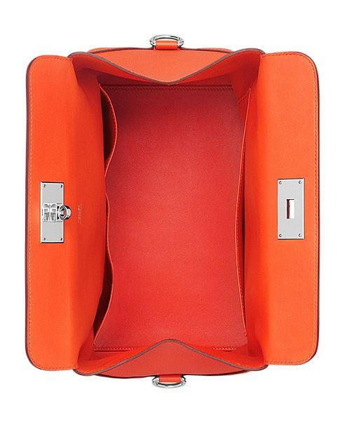 Hermes Toolbox Handbag In Orange Leather