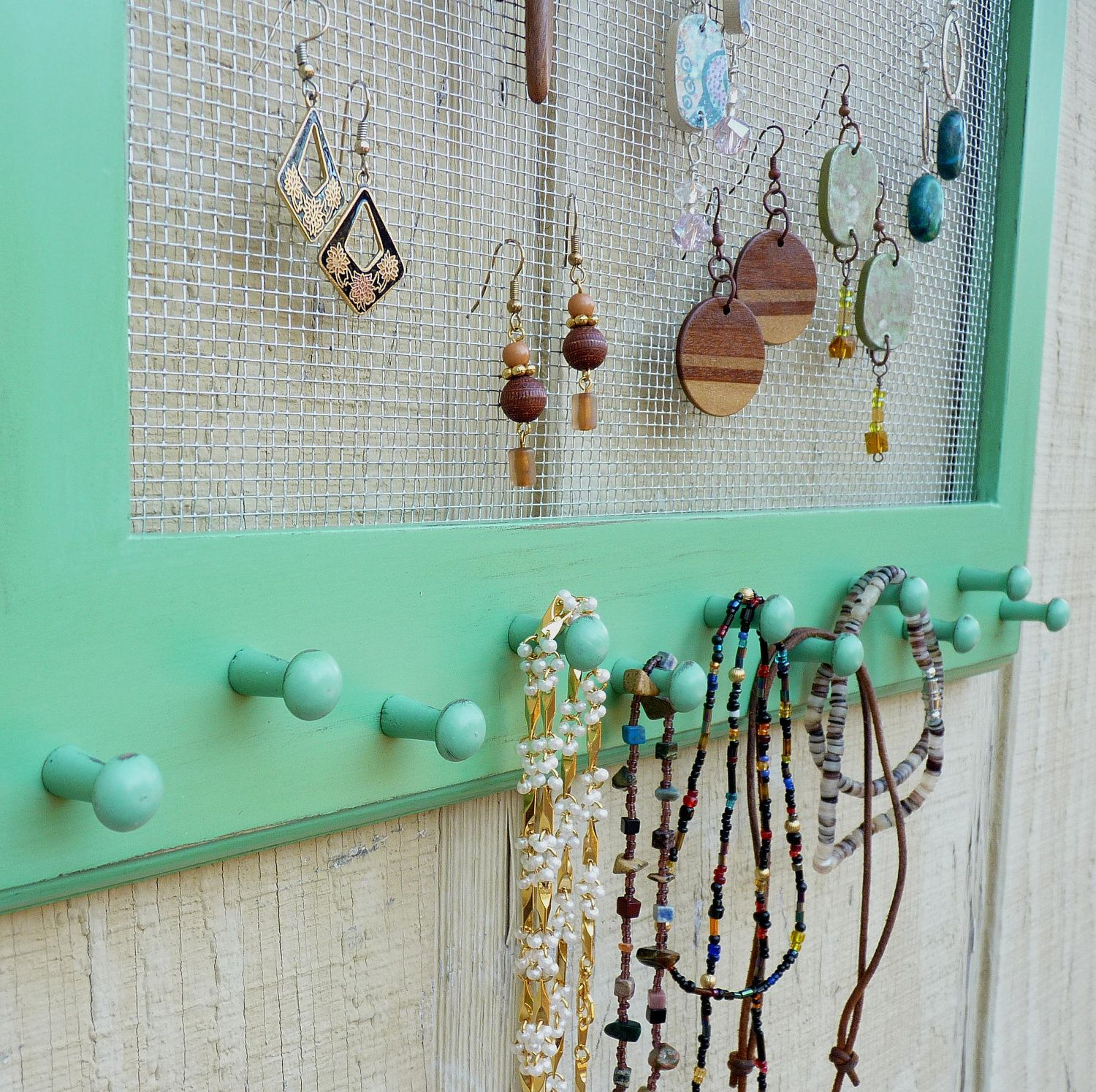Cottage Chic Distressed Jewelry Organizer Earring Holder Display ...