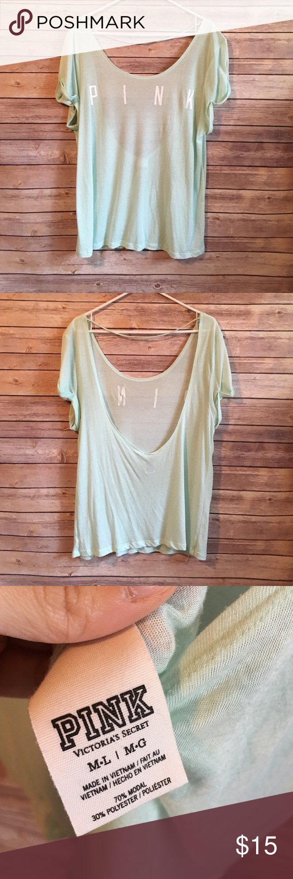 PINK Victoria's Secret Tee Light and flowy. Used at coverup and with a cute bralette under. GUC. Minor pilling from typical wear. PINK Victoria's Secret Tops Tees - Short Sleeve