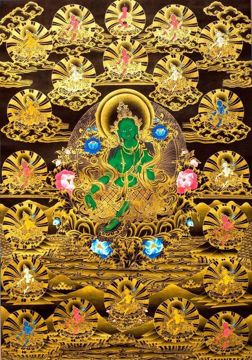 green tara and her 21 aspects buddhabe tara the bodhisattva who acts spontaneusly in. Black Bedroom Furniture Sets. Home Design Ideas