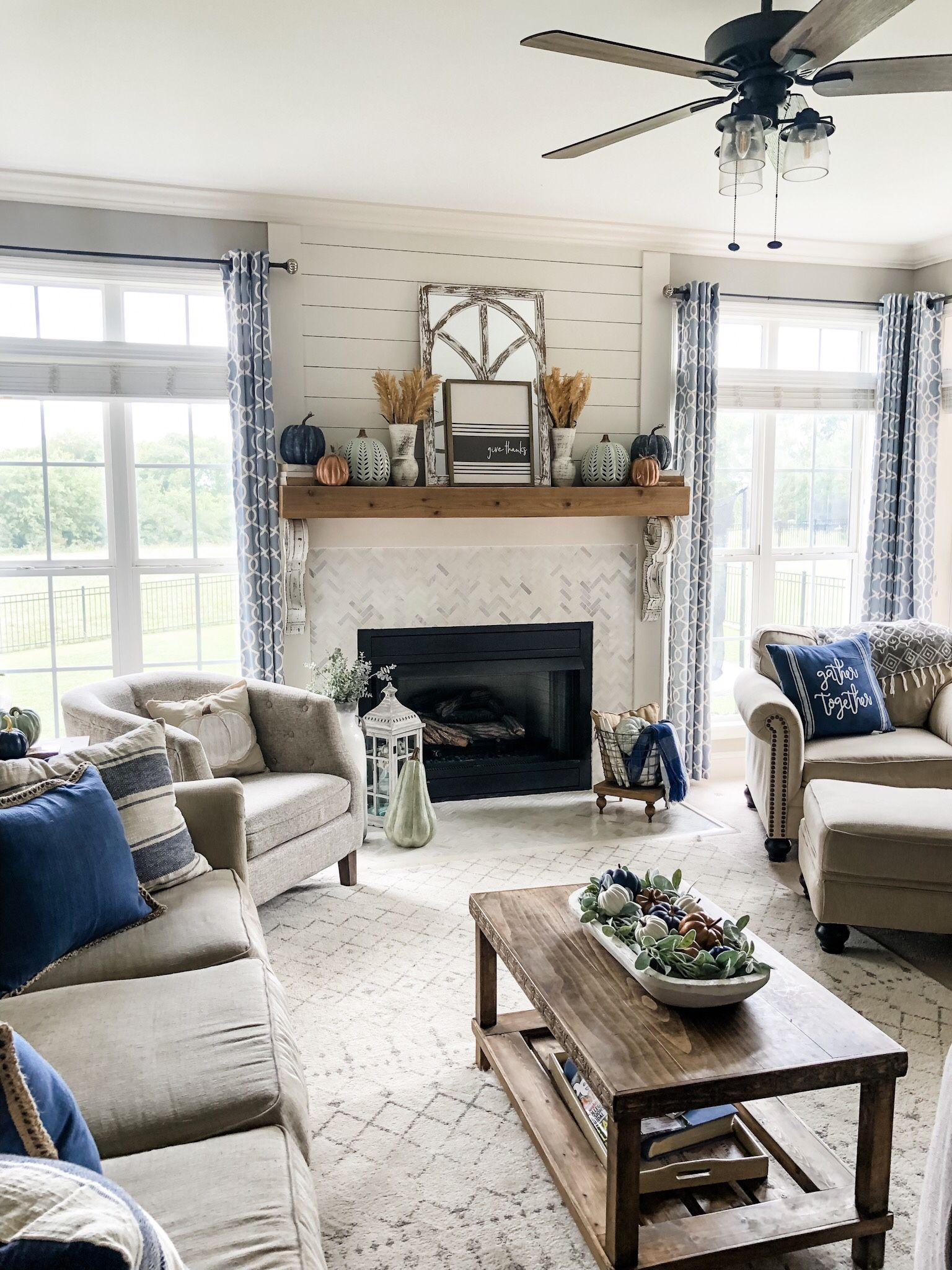 Fall Living Room Ideas Using Navy Copper Sage Green And White Sage Living Room Farm House Living Room Fall Living Room #sage #green #couch #living #room #ideas