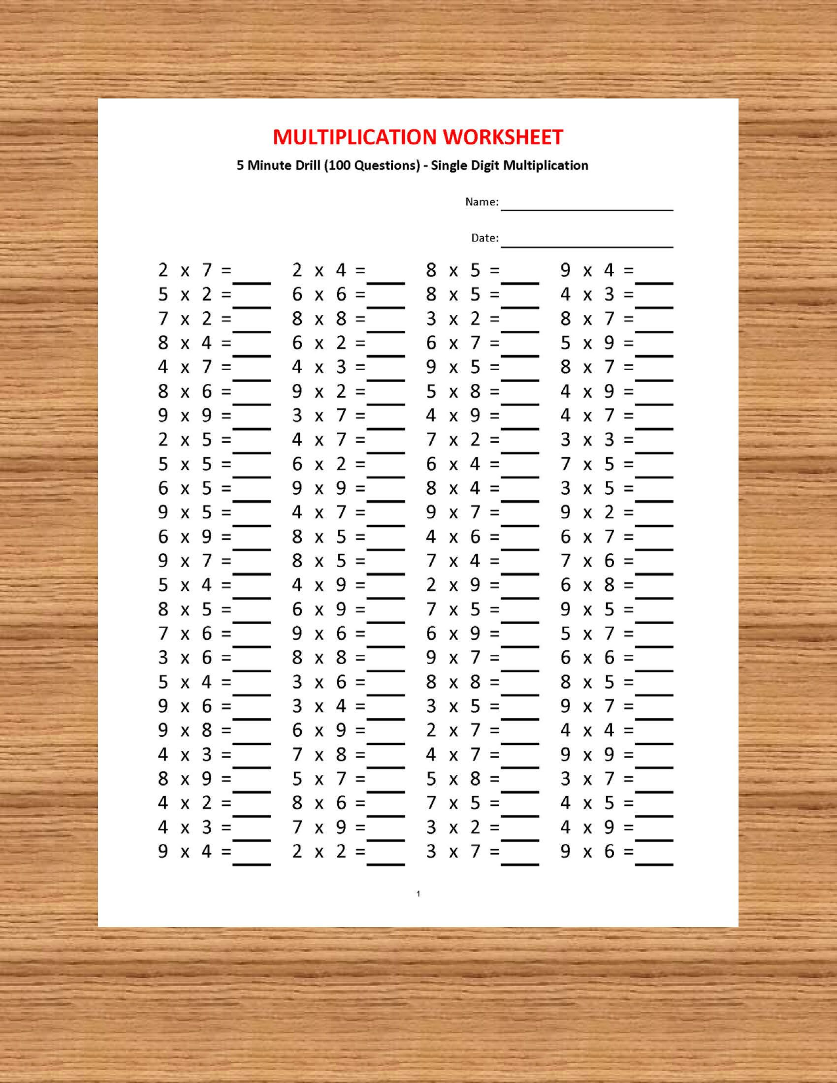 Multiplication 5 Minute Drill H 10 Math Worksheets With