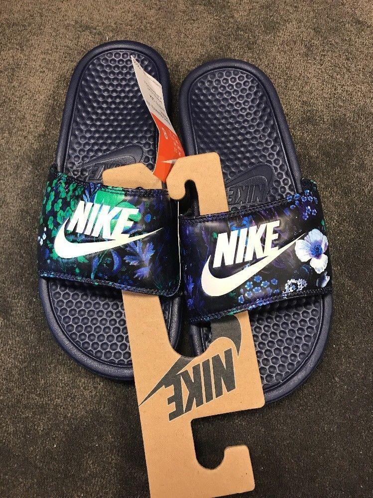 0d8bb071e88c Nike Benassi JDI Print Floral Blue Design Slides New Size 8