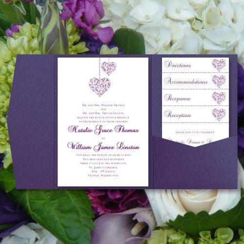 "Print Your Own Wedding Invitations Templates: DIY Pocketfold Wedding Invitations ""Hearts"" Purple"