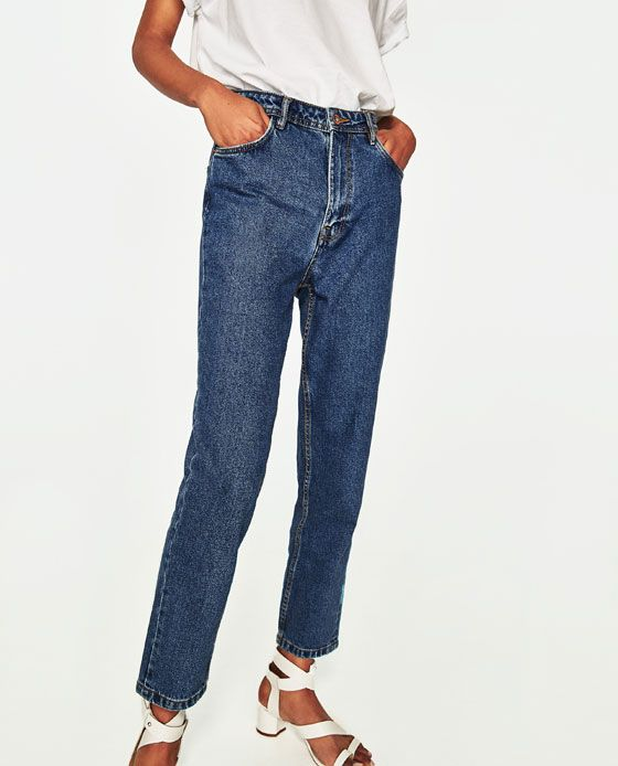 Image 3 of HIGH-RISE MOM FIT JEANS WITH BELT from Zara