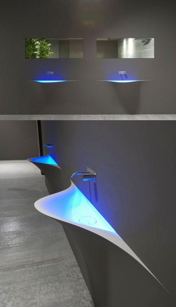 Design Waschbecken-wandbefestigt Antonio Lupi-LED-Licht