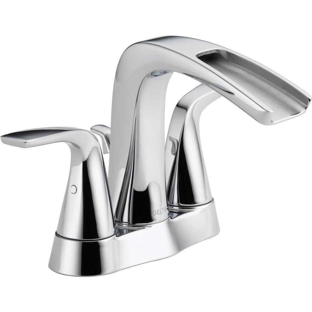 Delta Tolva 4 In Centerset 2 Handle High Arc Bathroom Faucet In Chrome 25724lf The Home Depot Chrome Kitchen Faucet Bathroom Faucets Bathroom Faucets Chrome [ 1000 x 1000 Pixel ]