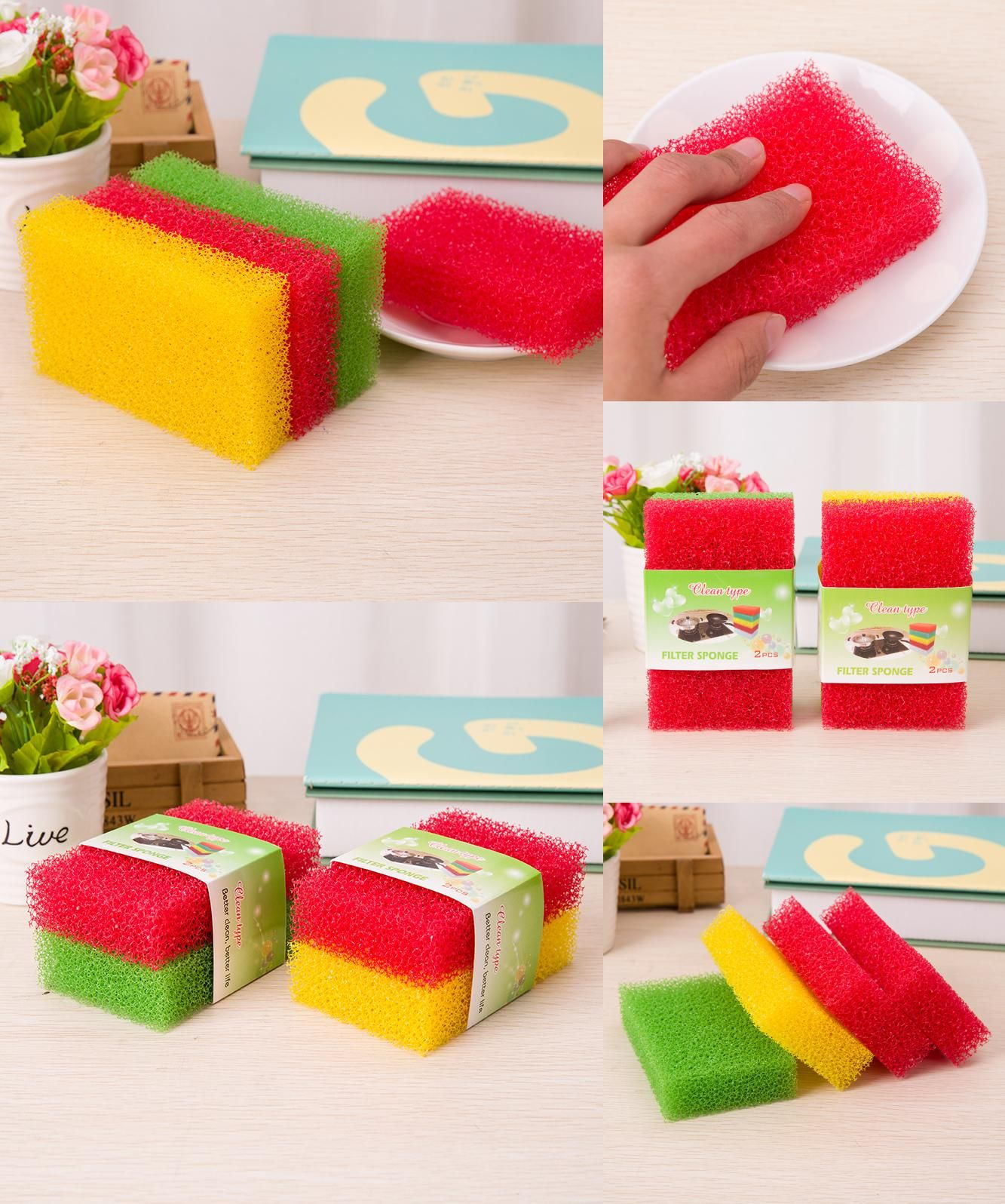 [Visit to Buy] 2Pcs Creative Non Stick Oil Sponge Strong Decontamination Sponge Cloth  Washing Cloth Washing Towel Kitchen items #Advertisement