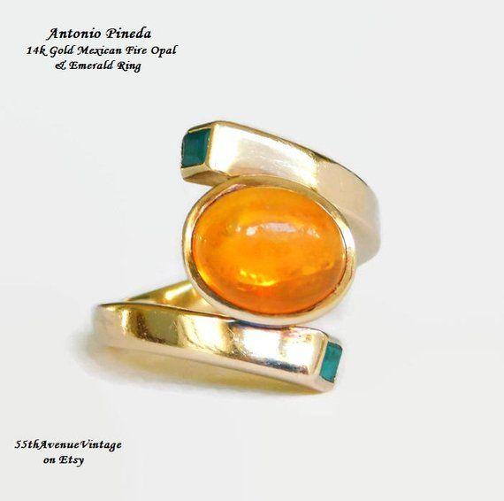 Antonio Pineda 14k Gold Ring Mexican Precious Fire Opal With Emerald Rare Taxco Mexico Mid Centu