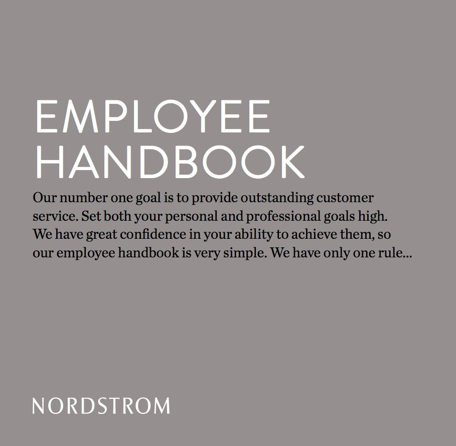 NordstromS Employee Handbook Has Only One Rule  Employee Handbook