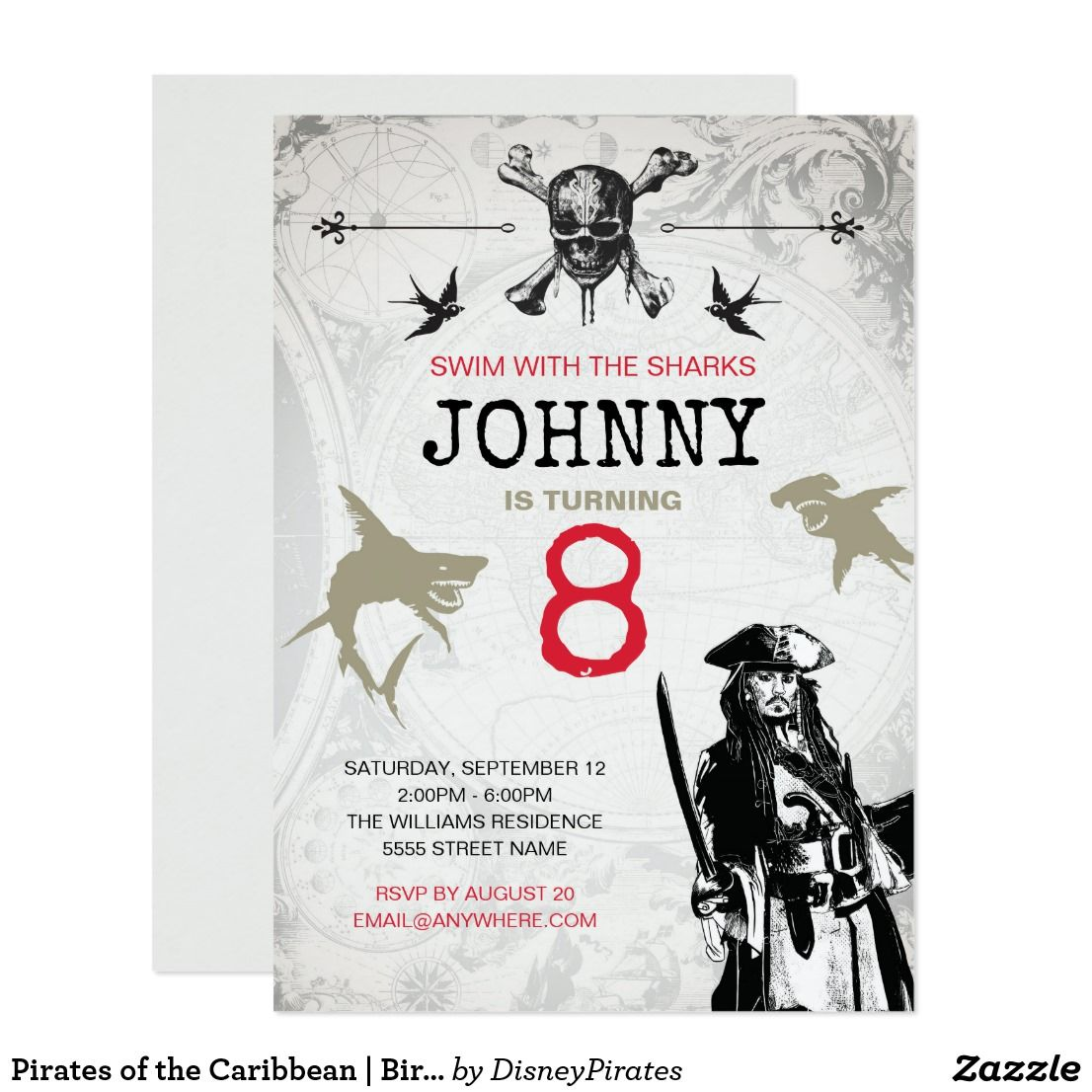 Pirates of the Caribbean Birthday Invitation Zazzle