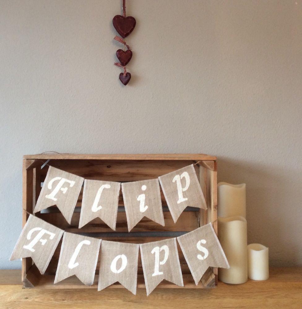 ❤️ Hessian Flip Flops Bunting Banner Dancing Shoes Wedding Party Vintage Burlap #Unbranded